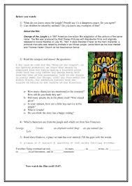 Worksheet: George of the Jungle. Part 1
