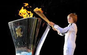 flame lighting olympics. aaron bell lights the cauldron with olympic flame at historic estate of temple newsam in leeds end day 37 london 2012 torch lighting olympics a
