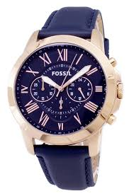 fossil grant chronograph blue leather strap fs4835 men s watch