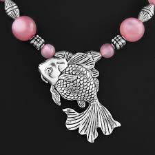fish german silver pendant with pink purple beads chain necklace