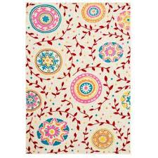 whimsical cream red 4 ft x 6 ft indoor area rug
