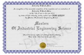 Masters Of Industrial Engineering Science