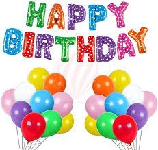 Partyballoonshk Solid Happy Birthday Letter Foil Balloon Banner 50 Latex Balloons Balloon