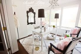 White airy home office Bright Mirror From Home Goods Star Light From Layla Grayce Dickoatts My Home Office Scarlett Lillian