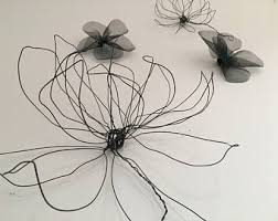 wire flower wall decor 3 wire flowers and 3 mesh flowers black wire art 100 handmade natural interior design 3d  on natural life wire wall art with wire flower wall decor one flower wire art black wire wall