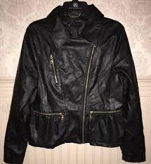 euc steve madden women s black faux leather jacket m gold zippers peplum waist