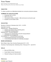 Resume Template For College Student With No Work Experience Download