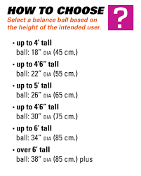 Exercise Ball Size Chart