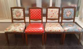 victorian oak chairs professionally re upholstered in cath kidston oilcloth