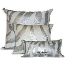 silver metallic zebra print cowhide pillow case 3 piece value set rodeo rugs rug