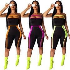 <b>Adogirl Sheer Mesh</b> Color Patchwork Strapless Jumpsuit Fashion ...