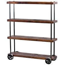 industrial rolling cart wood and steel iron storage shelving on casters at 1stdibs