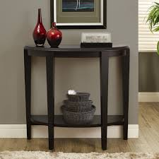 furniture black wooden hall accent half moon console table with
