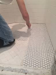 flooring penny tile floor diy tiled table img bathroom