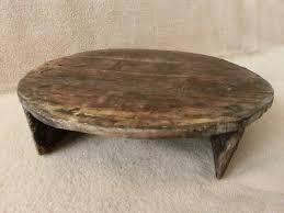 rare primitive rustic low wooden round