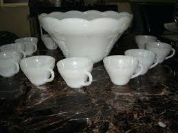 vintage milk glass punch bowl set indiana carnival