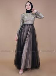 Dinner Dress Design Black Gold Fully Lined Crew Neck Muslim Evening Dress