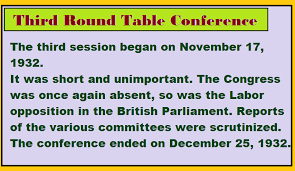 third round table conference 1932 general awareness indian national movement ii the gandhian era