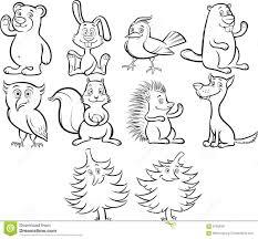 Animali Svegli Della Foresta Del Fumetto Del Libro Da Colorare