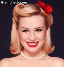 50s retro pin up hairstyle makeup look