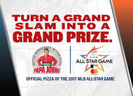 papa john s pizza order for delivery or carryout win a trip to mlb all star game