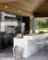 Indoor Outdoor Kitchen Ideas Custom Stainless Steel Bbq And Gas Grills  White Painted Pergola Kitchen Idea Natural Stone Tiled Floor Polished  Granite ...