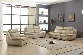 Taupe Living Room Furniture Lush Taupe Leather 3 Piece Sofa Set With Eucalyptus Wood Accent