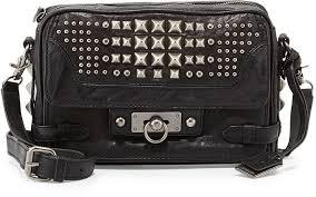 frye cameron studded leather cross bag black