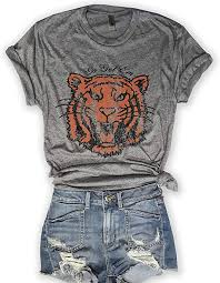Everfitte Go Get Em Tiger 80's Retro Unisex Grey <b>Triblend Graphic Tee</b>