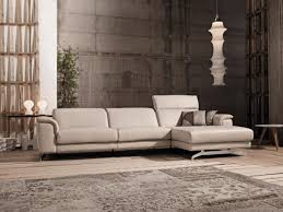 contemporary deltasalotti sirio 3 seater leather sofa with chaise longue