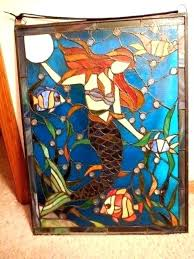 stained glass hanging mermaid oceanic stained glass hanging x metal frame hang circa stained glass hanging