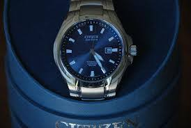 """men s citizen titanium eco drive watch bm7170 53l watch shop comâ""""¢ the mens citizen titanium eco drive watch bm7170 53l came well presented in a blue cylindrical box the watch title and make printed on the outside"""