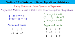 section 8 2 systems of linear equations matrices