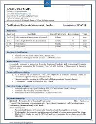 Resume Template Best Resume Format For Freshers Free Career