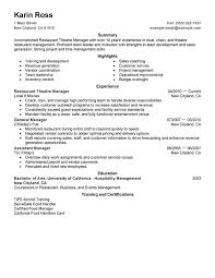 Restaurant Theatre Manager Resume Sample