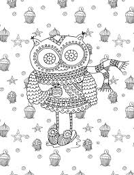 Small Picture Owl and cupcakes coloring page Adult ColouringOwlsBirds