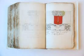 mcript book on heraldica in dutch meant as a handbook on heraldica containing 290 handcoloured coats of arms based on printed blank coats of arms
