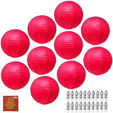 Mudra Crafts Paper Lantern With Led Light Chinese Japanese Decorative Round Hanging Lamp Red 12 Inches 10 Packs