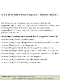 Dental Office Resumes Top 8 Front Desk Dental Receptionist Resume Samples