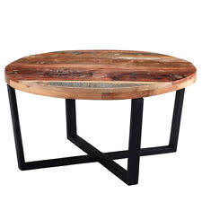 Rustic Design Round Coffee Table Reclaimed Timber Collection CS03
