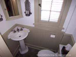 corner pedestal sink.  Pedestal Small Powder Room With Pedestal Sink In The Corner And Beadboard Walls Throughout Corner Pedestal Sink N