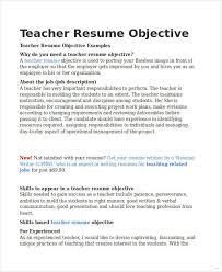Teaching Resume Objective Jmckell Com