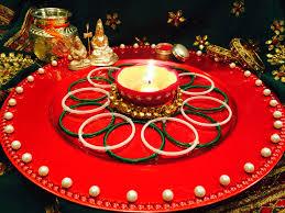 Pooja Ki Thali Design Karwa Chauth Ki Thali With Chooris Bindis Sindoor And Atte Ka Diya