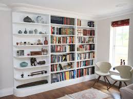 ... Inspiring Built In Shelving Units Using Prefab Cabinets For Built Ins  White Wooden ...