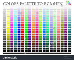Rgb Hex Chart Color Palette Composition Shade Chart Conform Stock Vector