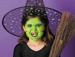 kids green face makeup witch broom