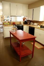 red slatted bottom diy kitchen island