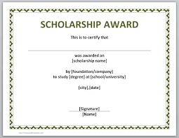 scholarship templates 13 free certificate templates for word microsoft and open office