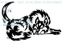 tribal wolf and moon drawing. Brilliant And Tribal Sleeping Wolf And Moon By WildSpiritWolf  To Drawing I
