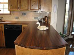 Kitchen Countertop Tile L Shaped Brown Wooden Kitchen Cabinet Using Glossy Wooden